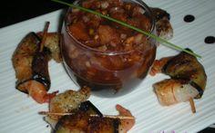 Recette - Gambas en robe d'aubergine et tartare de tomates pimentées | Notée 5/5