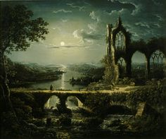 Moonlit River Scene with a Ruined Gothic Church and an Arched Stone Bridge with an Angle by William Pether