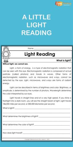 This light reading passage and questions correspond to a set of hands-on science activities for students in third grade, fourth grade, and fifth grade. Fourth Grade Science, Primary Science, Elementary Science, Teaching Science, Science Education, Science Activities, Physical Science, Science Labs, Kid Science
