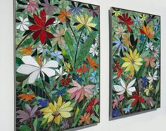 Mosaic Wall Art mosaic wall art stained glass wall decor floral garden indoor