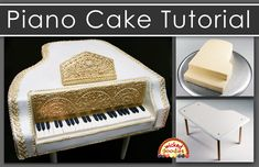 Step-by-step tutorial on how to bake, carve, sculpt and decorate a piano cake with buttercream frosting, modeling chocolate and piped chocolate Chocolate Videos, Modeling Chocolate, Burger Cake, Piano Cakes, Elephant Cupcakes, Buttercream Frosting, Icing, Cake Templates, Handbag Cakes