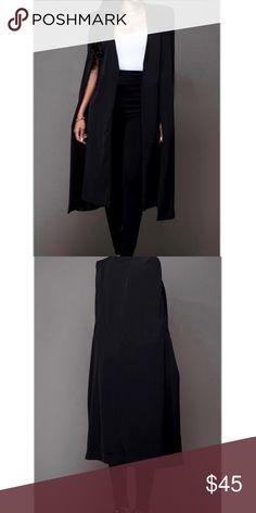 """⚜️BNWOT⚜️Black Cloak Design Coat Comfortable long black cloak design coat. Fabric: Healthy Fabric; EU:XL US:L (12/14). Bust: 38.5"""", Length: 40.9"""" Lexi & Lane Jackets & Coats"""