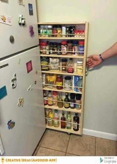 Cook Up These 6 Clever Kitchen Storage Solutions - Mini Refrigerator - Ideas of Mini Refrigerator - Utilize space next to refrigerator with a slide out shelving unit Rangement Cuisine Sunbeam cu ft Mini Refrigerator - Black Clever Kitchen Storage, Kitchen Storage Solutions, Creative Storage, Fridge Storage, Storage Cabinets, Diy Storage Ideas For Kitchen, Creative Decor, Cupboards, Kitchen Cabinets