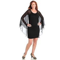Kate & Mallory Ponte Knit Shift Dress w/ Attached Georgette Shawl