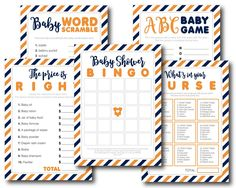 Tangerine orange and navy blue baby shower game kit, BY88