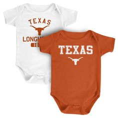 NCAA Texas Longhorns Boys 2pk Onesies - 12 M, Infant Unisex, Size: 12 Months, Multicolored