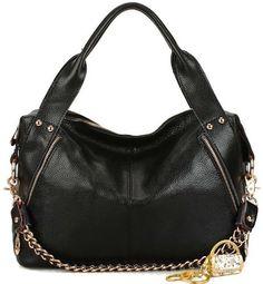 09f21988139 shoulder bags: Heshe Genuine Leather Fashion Designer Tote Cross Body  Shoulder Bag Handbag W Chain (Black)