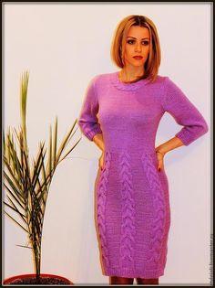 Купить Платье Parfait amour - сиреневый, платье, платье вязаное, платье спицами, косы, араны