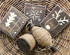 Mini+Christmas+Signs++Rustic+Home+Decor++Rustic+by+ThreeBlueOwls