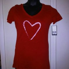 Make a OFFER Sale Drawn Heart Design V neck Fitted tee but not tight fitting Short sleeve 40% polyester & 60% cotton Salt Lake Clothing Tops Tees - Short Sleeve