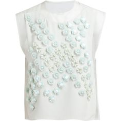3.1 PHILLIP LIM Embellished Dandelion Crop Top (£425) ❤ liked on Polyvore featuring tops, blouses, shirts, floral sleeveless blouse, floral crop top, fringe crop top, floral blouse and white sleeveless shirt