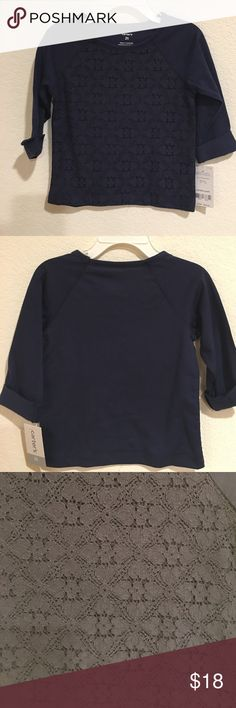 Carter's Navy Lace Detail 3/4 sleeve shirt 2T Brand New Carter's Navy Lace Detail 3/4 sleeve shirt, size 2T. The lace detail is located on the front of the shirt and the back is a normal cotton t-shirt look as shown in the photos. Carter's Shirts & Tops Blouses