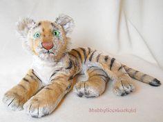 Steiff lying Tiger cub 1953  1964 mohair tiger by ShabbyGoesLucky, €65.00