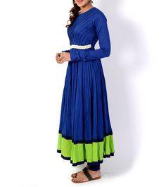 Blue & Green Cotton Anarkali Suit