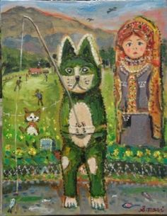 """Fishing cat = (20 / May work)  motif figurine of a cat and matryoshka, a landscape of idyllic """"fishing"""" in the suburbs"""