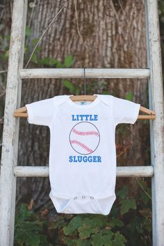 Little Slugger Baseball Bodysuit - Baseball Onepiece Bodysuit - Baseball Outfit - Boys Romper - Baseball Baby Shower Gift