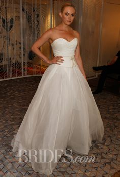 """Brides.com: Della Giovanna - Fall 2014. """"Colbie"""" tulle skirt and """"Chase"""" corset in silk chiffon with snakeskin embossed leather, Della Giovanna"""