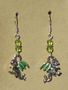 Enameled Dragon Beaded Earrings