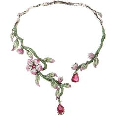 Wendy Yue Flower And Vine Necklace (423.865 VEF) ❤ liked on Polyvore featuring jewelry, necklaces, pink multi, flower necklace, druzy necklace, pink flower necklace, 18 karat gold jewelry and vine necklace