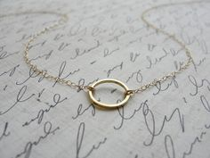 adorn512 - silhouette art, handstamped jewelry, k.amato and wrap bracelets — Simple circle necklace - gold circle necklace