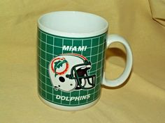 Miami Dolphins Mug NFL Football Coffee Tea Cup Papel Vintage Logo Helmet Korea…