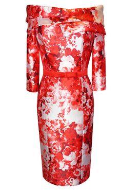 eb56d02b889d2 94431 - Carla Ruiz 94431, Burnt Orange / Red Print Dress with off the  shoulder