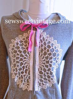Sew Sweet Vintage: DIY Doily Jacket Refashion