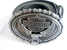 Eagle Harley Davidson Belt and Buckle - Bike chain Leather Belts and Buckles
