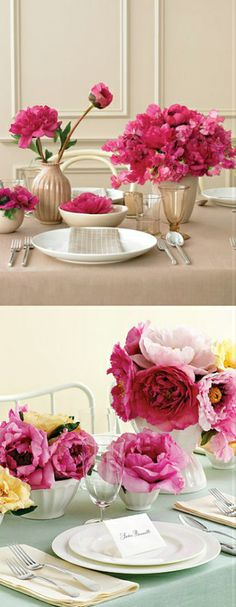 Table arrangements for your wedding in shades of pink.