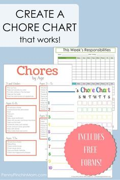 free printable chore charts for kids includes blank forms and even a list of chores - Printable Pictures For Kids