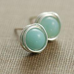 Sky Blue Post Earrings, Amazonite Wrapped in Sterling Silver, Handmade Gemstone Earrings, March Birthday, aubepine. $14.50, via Etsy.