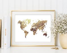 World Map Print Printable Wall Art Map of the by InstantGraphics
