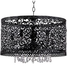 Black Chandelier with Crystals and Metal Screen $169.95
