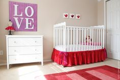 Baby Crib Skirt.....a very basic construction style.  (Great way to hide storage items under the crib.)  www.makeit-loveit.com