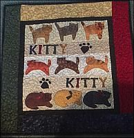 Primitive Kitty Kitty Wall Quilt by Connie Wilson at Wooden Angel Primitives #primitivewallquilt #wallquilt #quilting