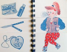 Frau Franz. Illustrations for Till Thomas' riso-print flip-flap book 'Kampf Kolosse'. Love the idea...