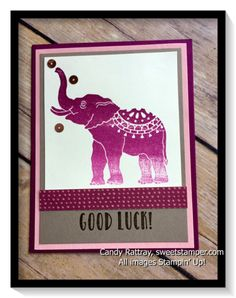 Lucky Elephant rubberstamp set from the 2017 Occasions Catalog with Rich Razzleberry Ombre Pad for purple elephant pizzazz!
