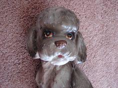 1970's LEFTON BIG Poodle Dog Hand Painted Grey