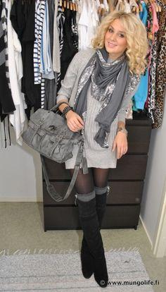 Black boots / Tall grey socks / Tights / Grey dress /  Shiny grey scarf..Cute!!