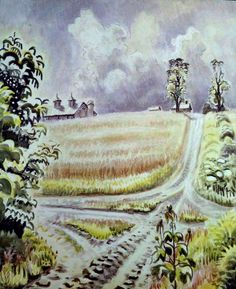 Country Crossroads in July, Charles Ephraim Burchfield Landscape Paintings, Watercolor Paintings, Watercolour, American Scene Painting, Vanishing Point, Nature Images, Nature Scenes, American Artists, Impressionism