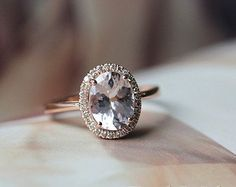 14kt Rose Morganite & 1/8 CTW Diamond Ring by SomethingChicJewels on Etsy