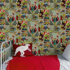 Bring the vibrant fun of Marvel comics to the walls of your home with this multicoloured Comic Strip wallpaper design. The design itself features the iconic comic storyboards filled with action-packed scenes and starring such classic superheroes as Thor and The Incredible Hulk. This exciting piece would be perfect for use in a bedroom or play area, although it can indeed to be used anywhere in the home to give your walls an edge.
