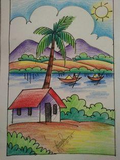 Oil Pastel Drawings Easy, Easy Drawings For Kids, Art Drawings Sketches Simple, Colorful Drawings, Easy Drawing For Children, Scenery Paintings, Indian Art Paintings, Scenery Drawing For Kids, Village Drawing