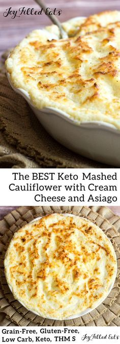 Keto Mashed Cauliflower with Cream Cheese and Asiago - Low Carb Grain-Free Gluten-Free THM S - This is the best mashed potato sub I have tried. No one will complain when this Keto Mashed Cauliflower with Cream Cheese and Asiago takes its place. Keto Mashed Cauliflower, Cauliflower Low Carb Recipes, Comida Keto, Joy Filled Eats, Low Carb Side Dishes, Vegetarian Keto, Vegan Keto, Vegetarian Frittata, Low Carb Diet
