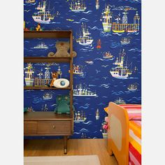 On The Sea Wallpaper 83x52 Blue  by Jim Flora $119.00 now featured on Fab.