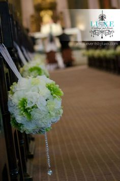 Green and White Pomander Wedding Decor for Church by LUXE weddings and events use pompoms? Pew Decorations, Diy Wedding Decorations, Reception Decorations, Wedding Crafts, Luxe Wedding, Wedding Day, Wedding Stuff, Wedding Staircase, Staircase Ideas