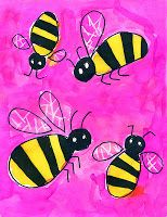 Bumblebee Watercolor Painting · Art Projects for Kids. This simple bee drawing was inspired by a stock art image. The black permanent marker guarantees crisp lines, the white crayon adds a little extra sparkle. School Art Projects, Projects For Kids, Spring Art Projects, Art Drawings For Kids, Art For Kids, Kids Fun, Art 2nd Grade, Grade 3, Bee Painting