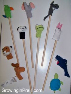 Creative Curriculum Objectives: 35, 36, 37    Dramatic play with finger puppets.  Record child's story and type out.  Allow child to illustrate story.