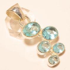 """SWISS BLUE TOPAZ 925 STERLING SILVER PENDANT 2.09"""" in Jewellery & Watches, Fine Jewellery, Fine Necklaces & Pendants   eBay"""