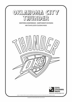 Oklahoma City Thunder NBA Basketball Teams Logos Coloring Pages